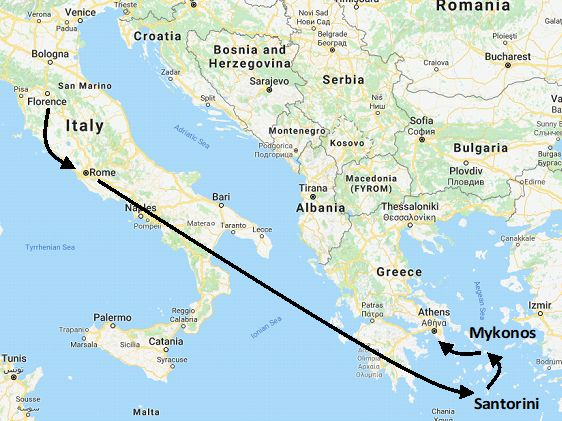 Greece and Italy Honeymoon Package, romantic vacation itinerary
