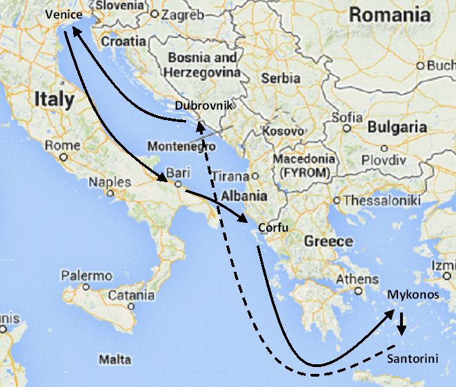 Eastern Mediterranean cruises, Greek islands, Italy and ... on map of greece with famous, map of malta of mediterranean cruise, map of greece and africa, map of fira santorini, map of santorini island, world map greece italy, map of santorini egypt, map of egypt greece and turkey, map of santorini greece, history italy, map silhouette, map from fira to oia, architecture italy, map of greece and croatia,